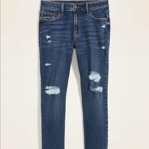 Mid-Rise Rockstar Super Skinny Ripped Jeans